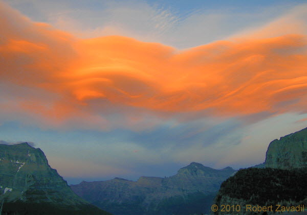 Photo of Clouds over Logan Pass at sunset in Glacier National Park