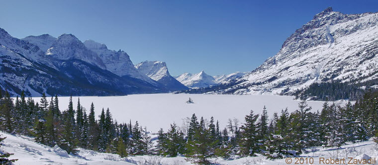 Photo of Winter on St Mary Lake in Glacier National Park