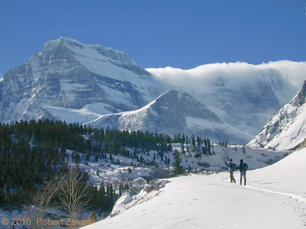 Photo of skiers in Glacier National Park
